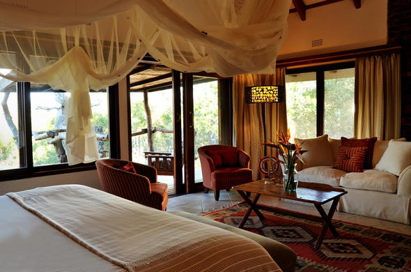 Interior of chalet at Idube Game Lodge.