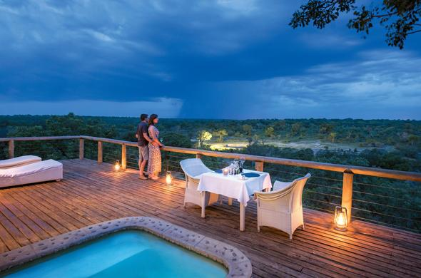 Romantic dinners on the deck under the African sky.