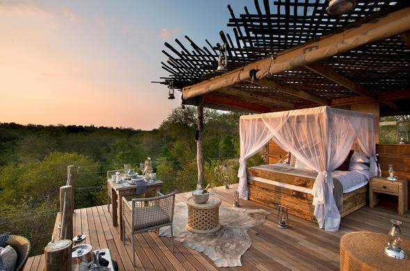 Lion Sands Ivory Lodge offers an intimate treehouse sleepout option.