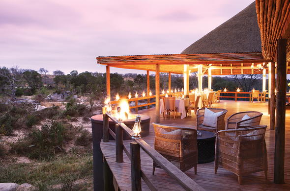 Dining deck at Londolozi Founders Camp.
