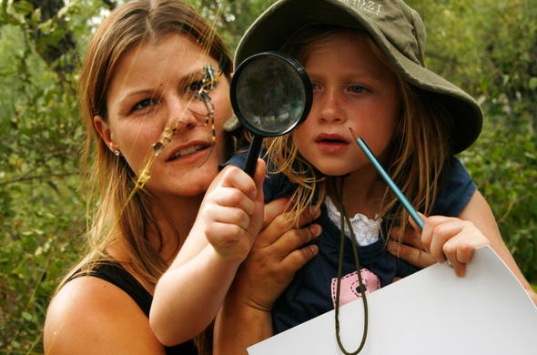 Child learning about spiders that are found in the African bush.