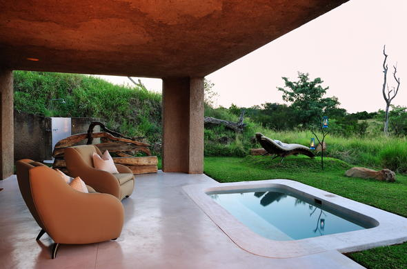 Opulent accommodation with private pool at Sabi Sabi Earth Lodge.