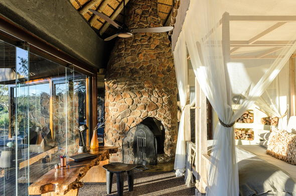 Luxurious accommodation offered at Singita Boulders Lodge.
