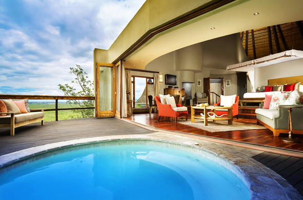 Luxurious accommodation with private jacuzzi at Ulusaba Cliff Lodge.
