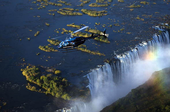 Helicopter flight over the Victoria Falls in Zimbabwe.